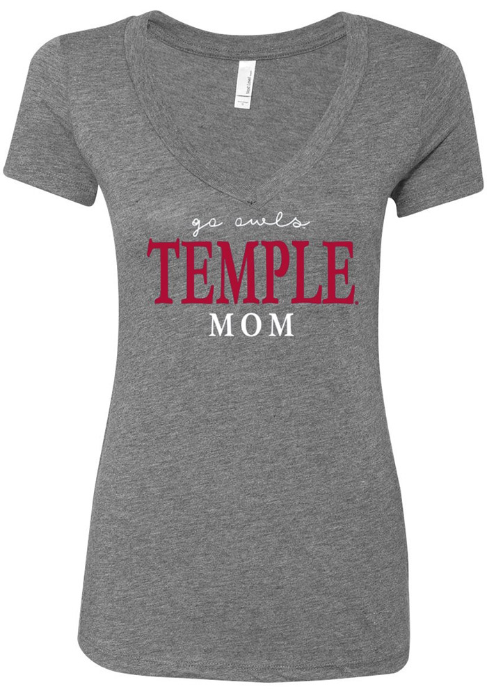 11fc782bb Temple Owls Womens Grey Emily V-Neck - 16650324