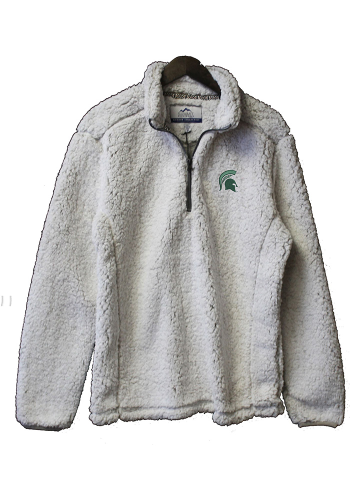 Michigan State Spartans Womens White Sherpa 1/4 Zip Pullover - Image 1