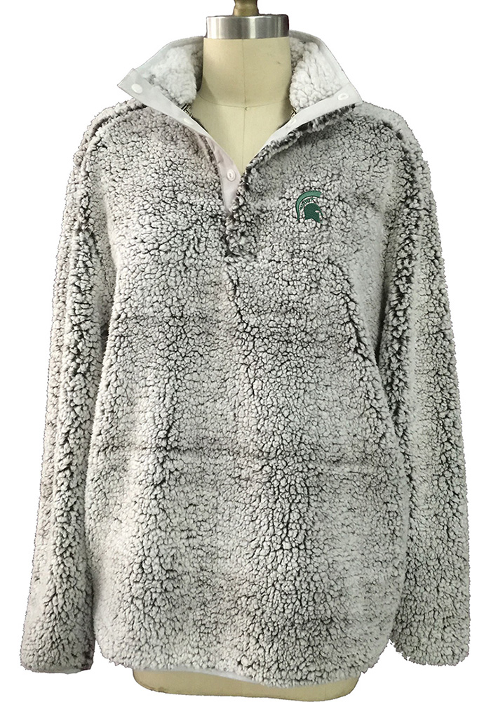 Michigan State Spartans Womens Grey Sherpa Snap Placket 1/4 Zip Pullover - Image 1