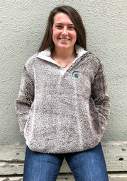 Michigan State Spartans Womens Grey Sherpa Snap Placket 1/4 Zip Pullover