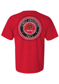 Temple Owls Womens Red Mom Spiral T-Shirt