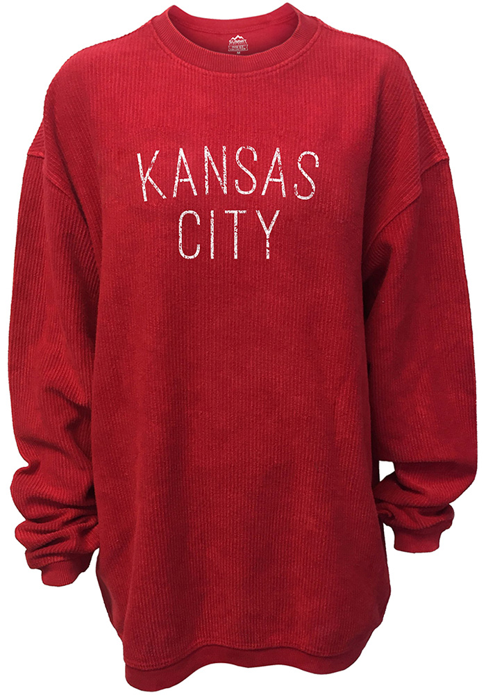 Kansas City Womens Red Arch Long Sleeve Corded Crew Sweatshirt - Image 1