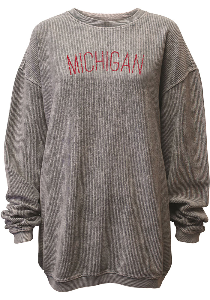 Michigan Womens Grey Arch Long Sleeve Corded Crew Sweatshirt - Image 1
