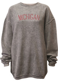 Michigan Womens Grey Arch Long Sleeve Corded Crew Sweatshirt