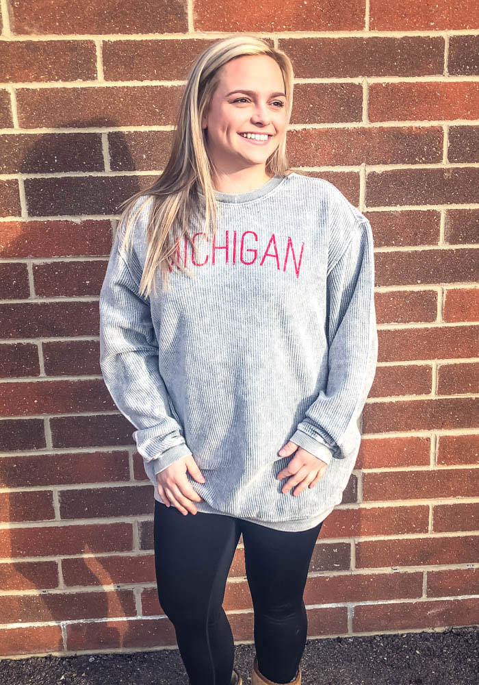 Michigan Womens Grey Arch Long Sleeve Corded Crew Sweatshirt - Image 2