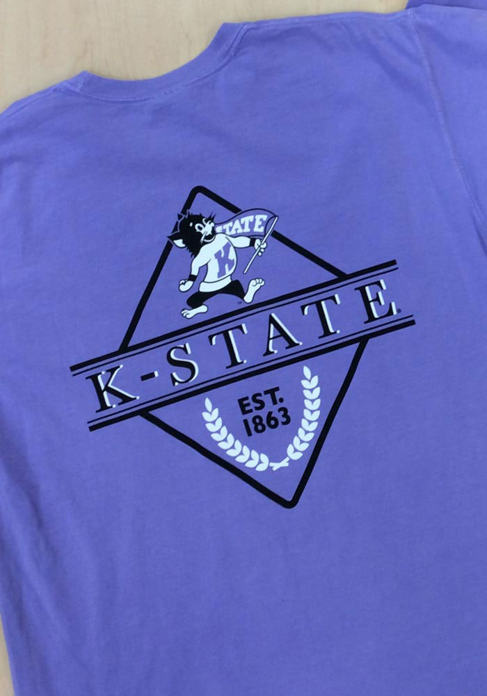 K-State Wildcats Womens Purple Comfort Colors Short Sleeve T-Shirt - Image 3
