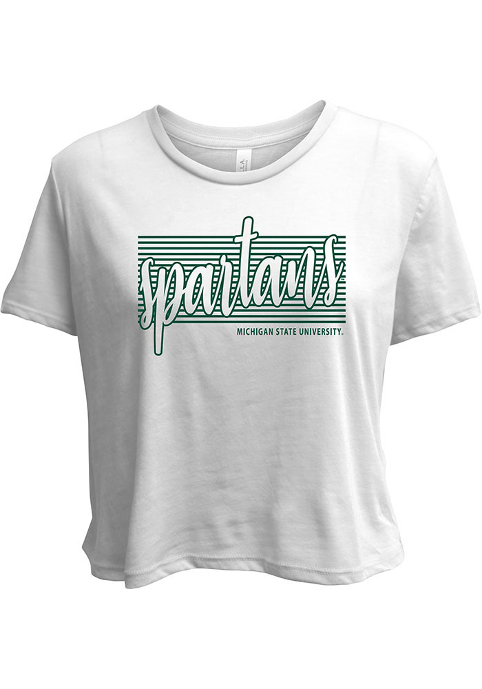 Michigan State Spartans Womens White Blair Flowy Cropped Short Sleeve T-Shirt - Image 1