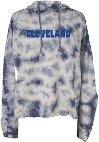 Cleveland Womens Blue Tie Dye Long Sleeve Light Weight Hood