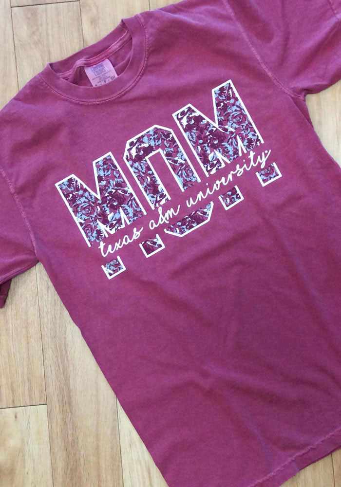 Texas A&M Aggies Womens Brown Floral Mom Short Sleeve T-Shirt - Image 2