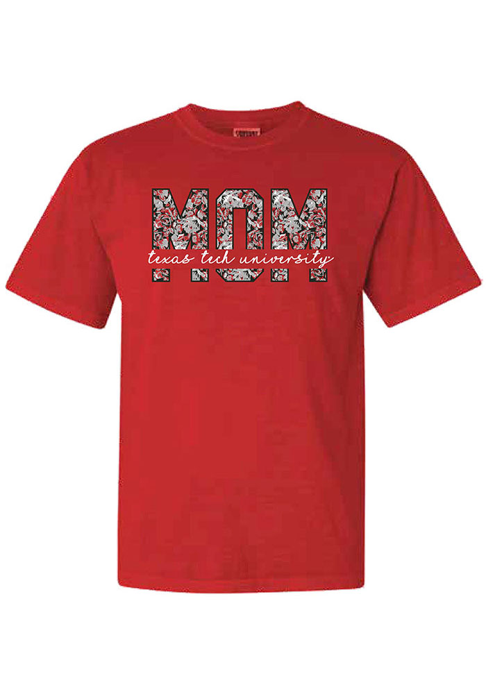Texas Tech Red Raiders Womens Red Floral Mom Short Sleeve T-Shirt - Image 1