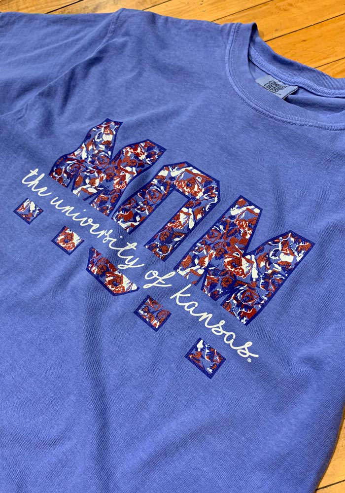 Kansas Jayhawks Womens Blue Floral Mom Short Sleeve T-Shirt - Image 2