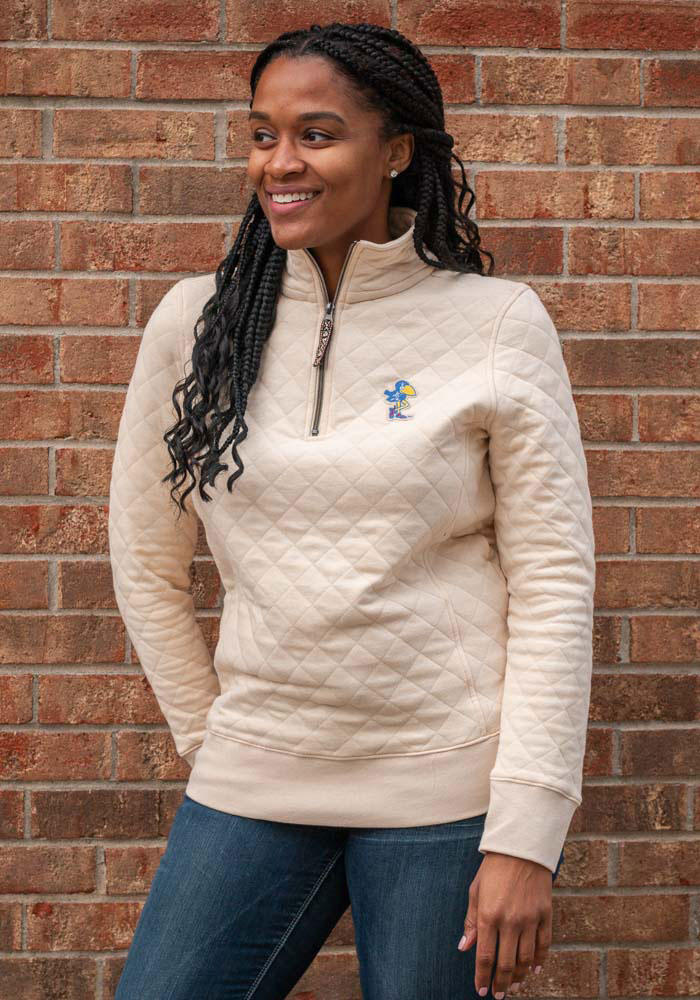 Kansas Jayhawks Womens Oatmeal Quilted 1/4 Zip Pullover - Image 1