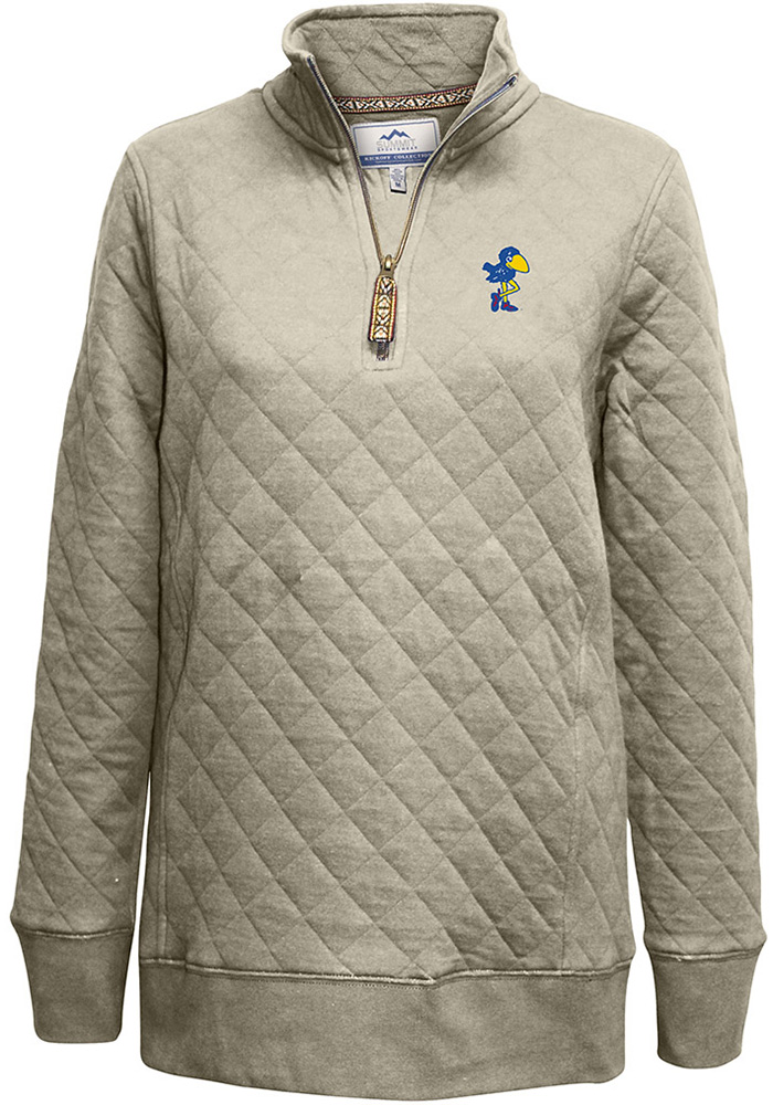 Kansas Jayhawks Womens Oatmeal Quilted 1/4 Zip Pullover - Image 2