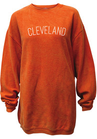 Cleveland Womens Orange Wordmark Long Sleeve Crew Sweatshirt