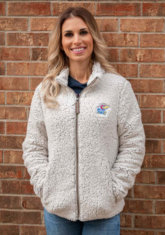 Rah Rah KU Jayhawks Womens Putty Sherpa Full Zip Jacket - Image 1