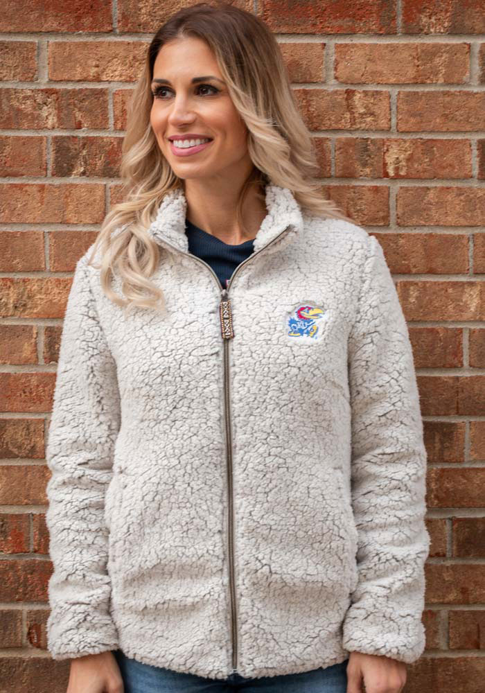 Rah Rah KU Jayhawks Womens Putty Sherpa Full Zip Jacket - Image 2