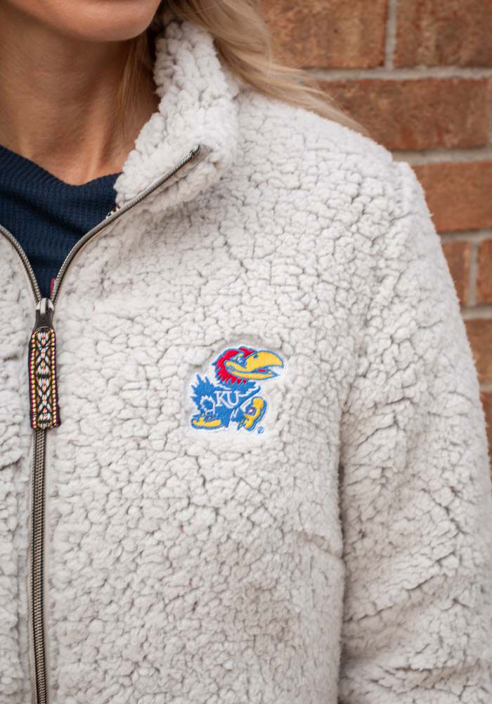 Rah Rah KU Jayhawks Womens Putty Sherpa Full Zip Jacket - Image 3
