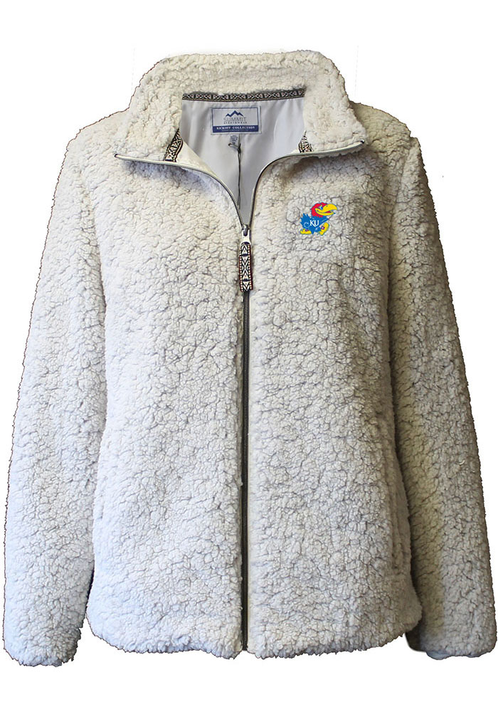 Rah Rah KU Jayhawks Womens Putty Sherpa Full Zip Jacket - Image 4
