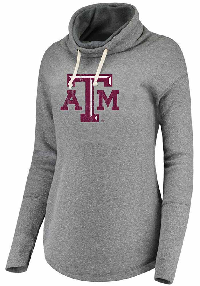 Texas A&M Aggies Womens Grey Mabel Funnel Neck Hooded Sweatshirt - Image 1