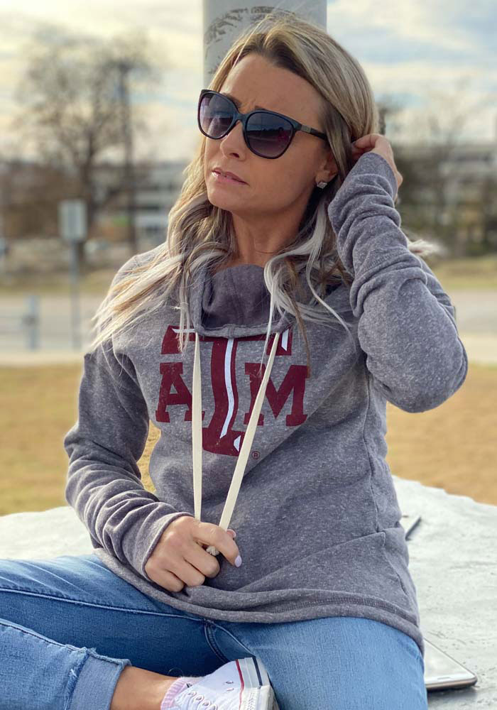 Texas A&M Aggies Womens Grey Mabel Funnel Neck Hooded Sweatshirt - Image 2