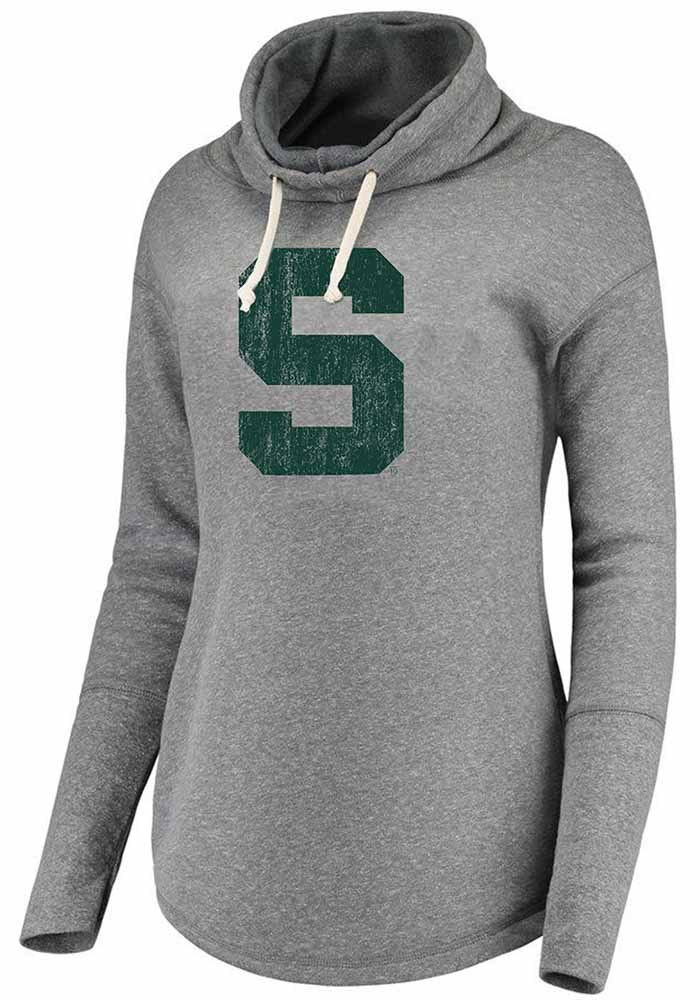 Michigan State Spartans Womens Grey Mabel Funnel Neck Hooded Sweatshirt - Image 1