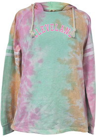 Cleveland Womens Rainbow Tie Dye Long Sleeve Light Weight Hood