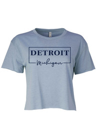 Detroit Women's Stonewash Denim Box Wordmark Cropped Short Sleeve T-Shirt