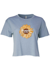 Kansas Women's Stonewash Denim Sunflower EST Cropped Short Sleeve T-Shirt