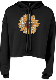 Kansas Women's Black Sunflower Long Sleeve Lightweight Hood
