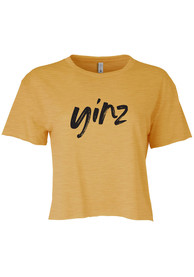 Pittsburgh Women's Gold Yinz Cropped Short Sleeve T-Shirt