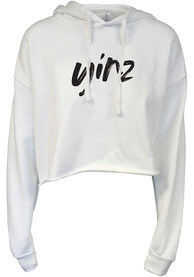 Pittsburgh Women's White Yinz Cropped Long Sleeve Lightweight Hood