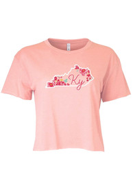 Kentucky Women's Desert Pink State Shape Flowers Cropped Short Sleeve T-Shirt