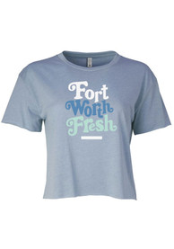 Fort Worth Women's Stonewash Denim Fresh Cropped Short Sleeve T-Shirt