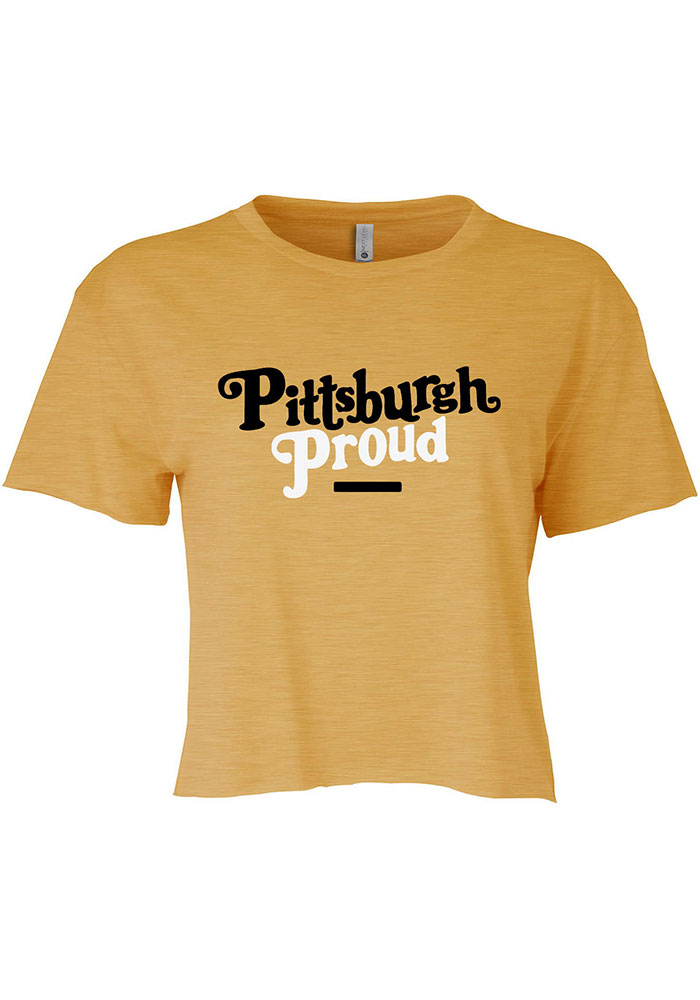 Pittsburgh Women's Gold Proud Cropped Short Sleeve T-Shirt - Image 1