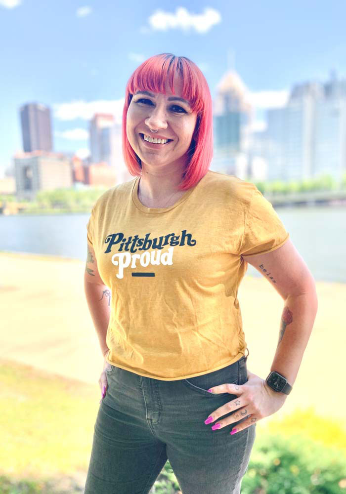 Pittsburgh Women's Gold Proud Cropped Short Sleeve T-Shirt - Image 2