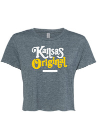 Kansas Women's Denim Original Cropped Short Sleeve T-Shirt