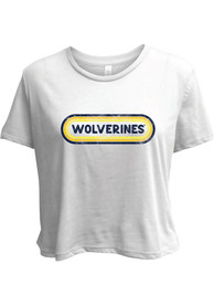 Michigan Wolverines Womens Ombre Oval T-Shirt - White