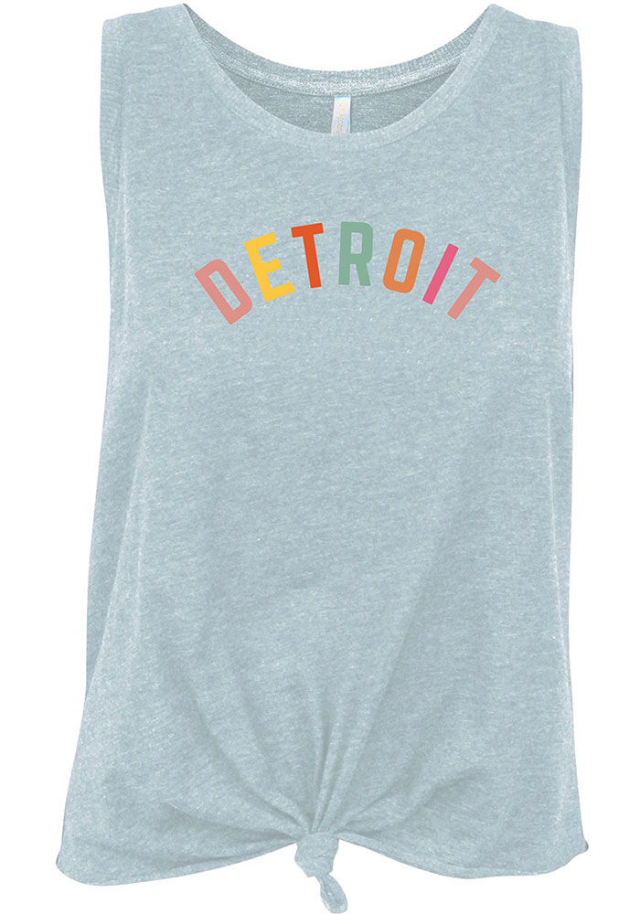 Detroit Women's Light Blue Multi Color Wordmark Tank Top - Image 1