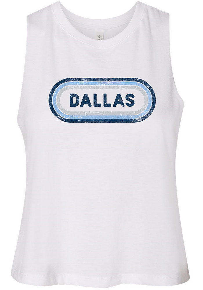 Dallas Women's White Ombre Oval Cropped Tank Top - Image 1