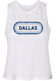 Dallas Women's White Ombre Oval Cropped Tank Top