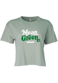 North Texas Mean Green Womens Attitude Crop T-Shirt - Green