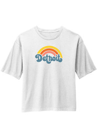 Detroit Women's Rainbow Cropped Short Sleeve T-Shirt - White