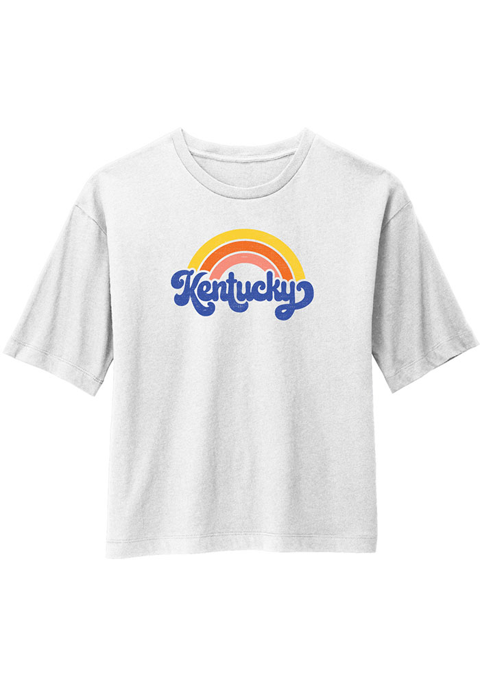 Kentucky Women's Rainbow Cropped Short Sleeve T-Shirt - White - Image 1