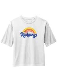 Kentucky Women's Rainbow Cropped Short Sleeve T-Shirt - White