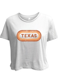 Texas Women's White Ombre Oval Cropped Short Sleeve T-Shirt