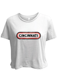 Cincinnati Women's White Ombre Oval Cropped Short Sleeve T-Shirt