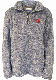 Dayton Flyers Womens Flecked Double Plush 1/4 Zip Pullover - Navy Blue