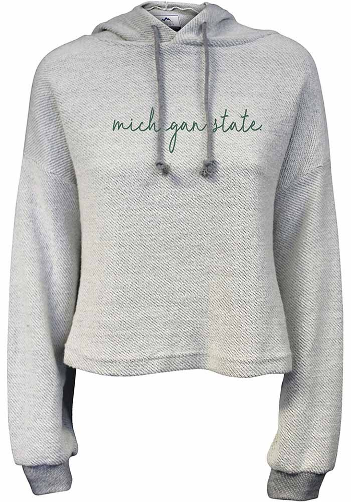 Michigan State Spartans Womens White Coastal Terry Hooded Sweatshirt - Image 1