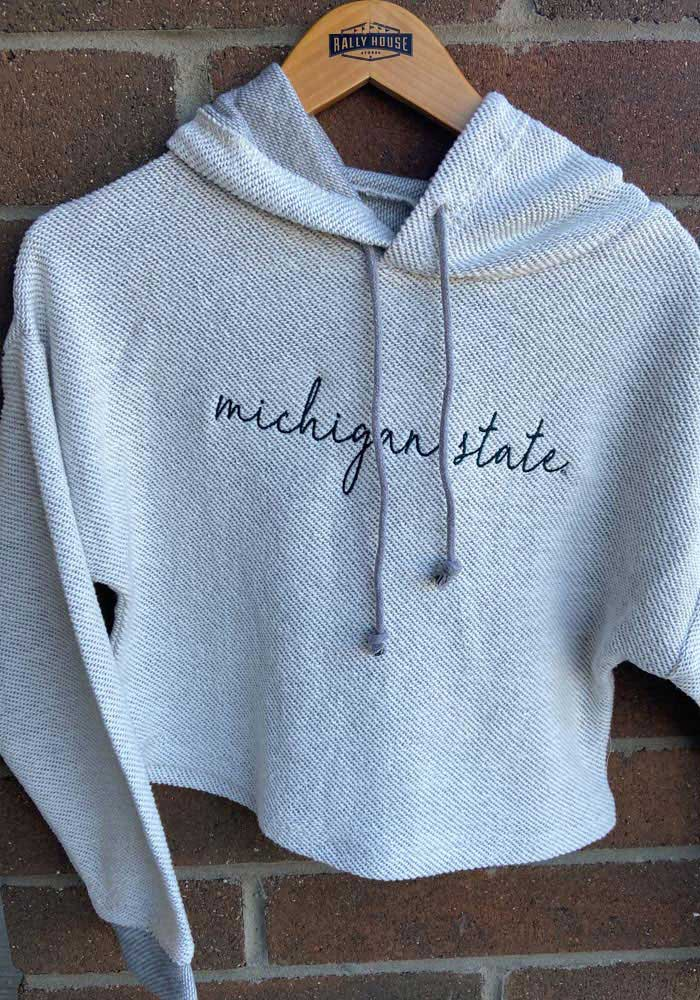 Michigan State Spartans Womens White Coastal Terry Hooded Sweatshirt - Image 2