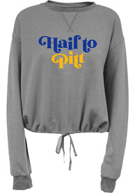 Pitt Panthers Womens Cinch Bottom Crew Sweatshirt - Grey